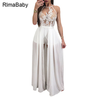 RLMABABY Sexy Halter See Through White Lace Maxi Dress 2017 Summer Sleeveless Backless Women Vestidos Beach