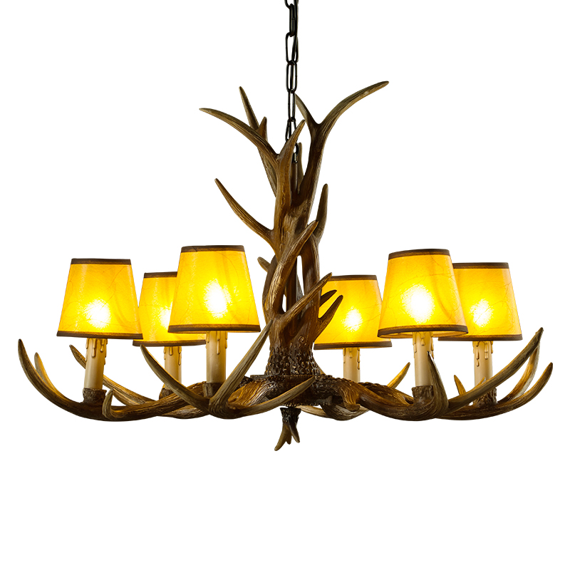 6 8 10 Lights Vintage Deer Chandelier Antlers Resin Chandeliers Candle Fixtures with Alphabet Cloth Lampshade Christmas Decor