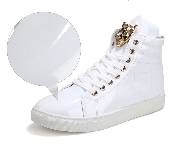 Fashion Leopard Sequined Skate Shoes For Men Ankle Boots 2015 New PU Patent Leather Shoe High Top Casual Flats Medusa Shoes F184 (4)