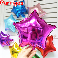 Mixed 10pcs 10inch five-pointed star heart shaped foil balloon wedding birthday decor pure color metallic Inflatable globos toys(China)