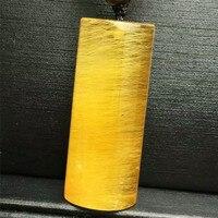 31x12x6mm Genuine Brazil Natural Titanium Yellow Gold Rutilated Quartz Crystal Pendant AAAAA