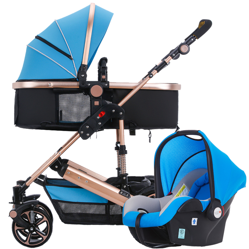 Yibaolai high landscape baby stroller can sit and lie a portable folding dual purpose basket baby cart