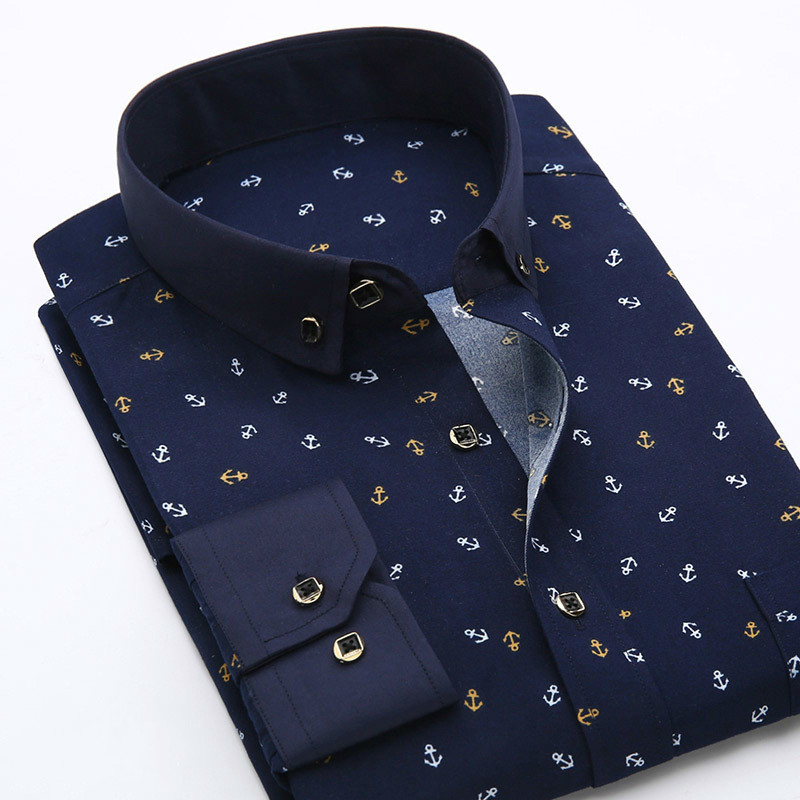 Floral Printed Men Long Sleeve Casual Men's Shirts Summer Autumn Spring Male Dress Shirts Man Plus Size Top Men Clothes 2018