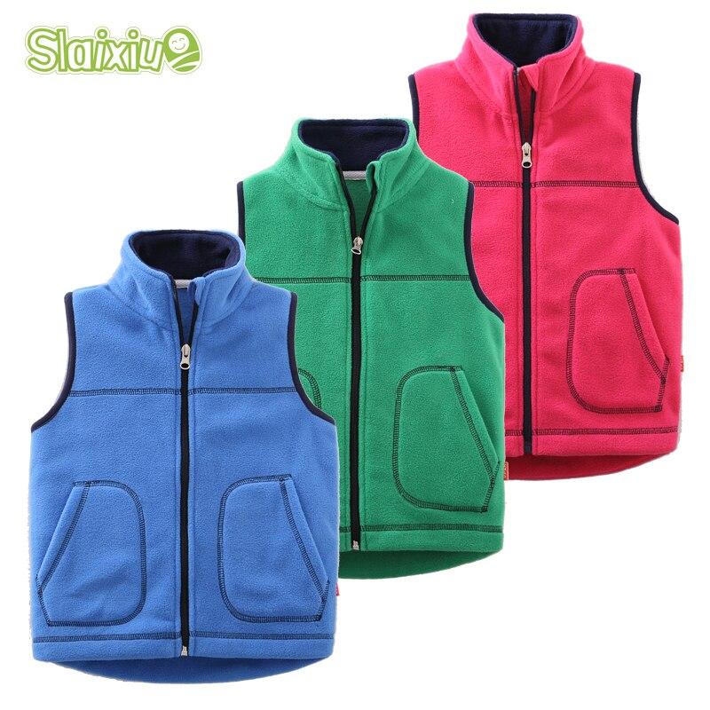 Autumn&Winter Kids Vest Waistcoats Fleece Boys Girls Vests Candy-Colors Children's Waistcoats Kids Sleeveless Jacket Outerwear