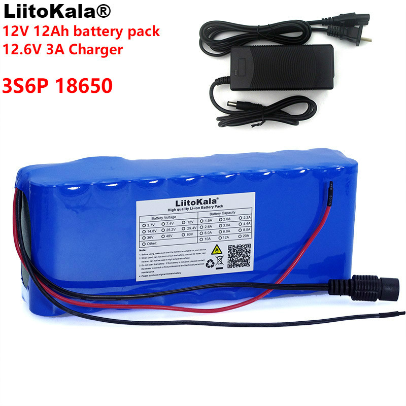 LiitoKala 12v 12A 18650 Lithium Battery 12000 mAh Capacity Lithium Battery Including Protective Plate + 12.6v 3A Charger 2016 promotion new standard battery cube 3 7v lithium battery electric plate common flat capacity 5067100