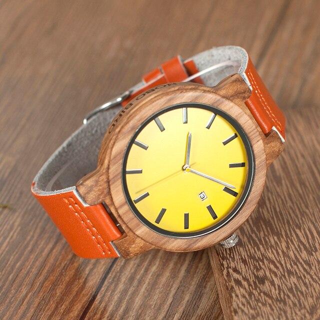 Reloj de madera amarillo pulso de cuero naranja unisex 2