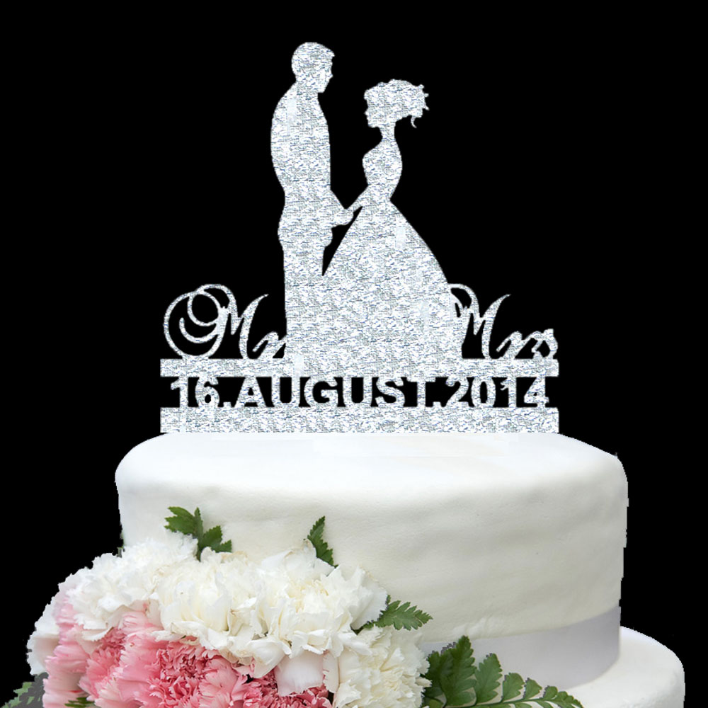 Personalize wedding Date Wedding Cake Topper Sweet Couple Gold ...