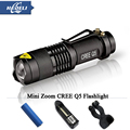 2000lm mini bike light CREE Q5 zoom LED flashlight 3 Modes Lanterna LED torch LED Portable flashlight use AA or 14500 battery