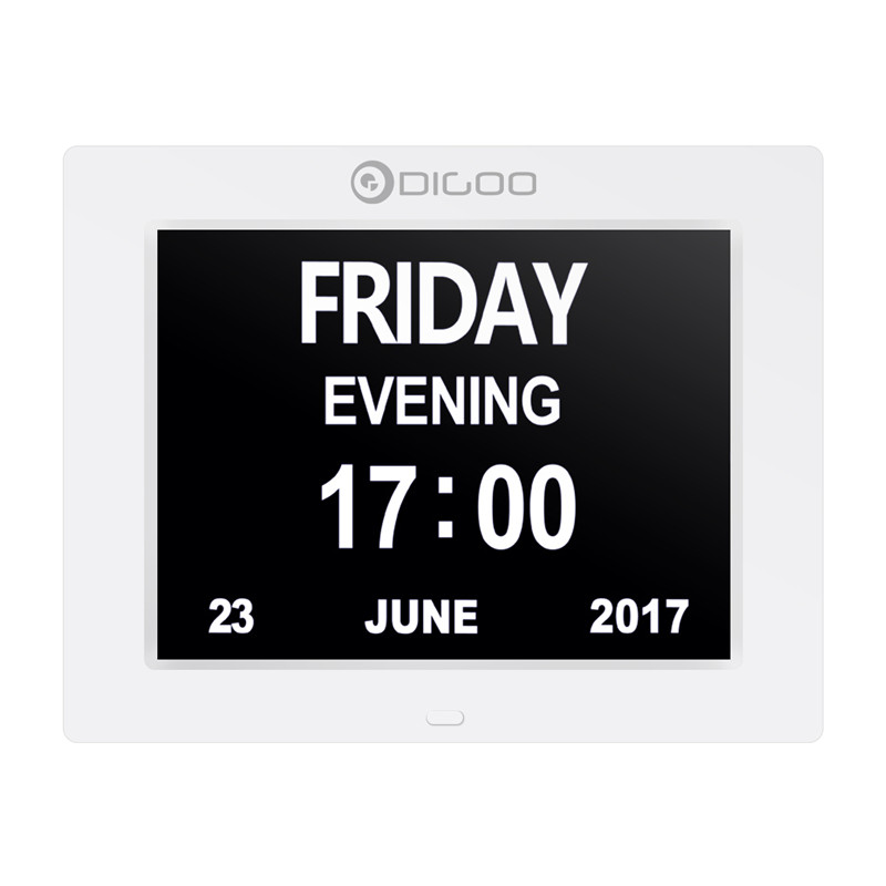Digoo DC-K8 8 Memory Loss Digital Electronic Calendar Alarm Day Clock with Extra Large Non-Abbreviated Day & Month 3 Alarm leap pq9907 professional digital chess clock with alarm