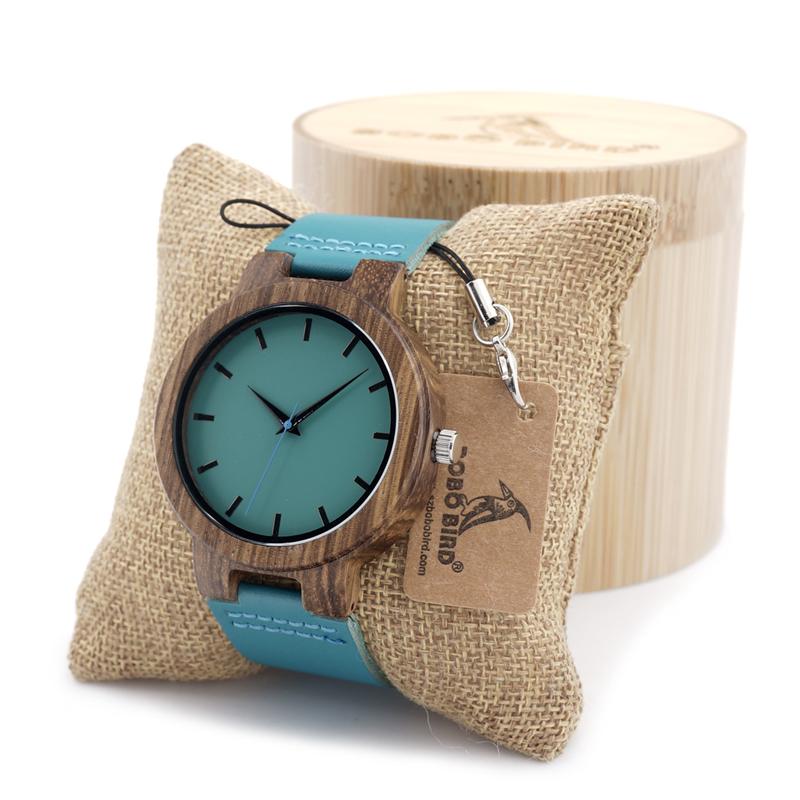 Prix pour Bois d'ébène de bobo bird hommes montres montre simple bleu conception hommes top marque montres