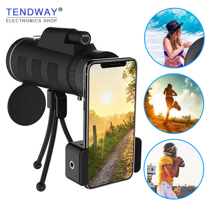 Tendway Phone Camera Lens Telescope for Moblie Zoom Lens for Smartphone Macro Lens for iPhone with Compass Phone Clip Tripod 3