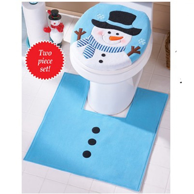 New Arrivel Blue Cute Snowman Toilet Seat Cover Rug Bathroom Set Christmas Home Decoration