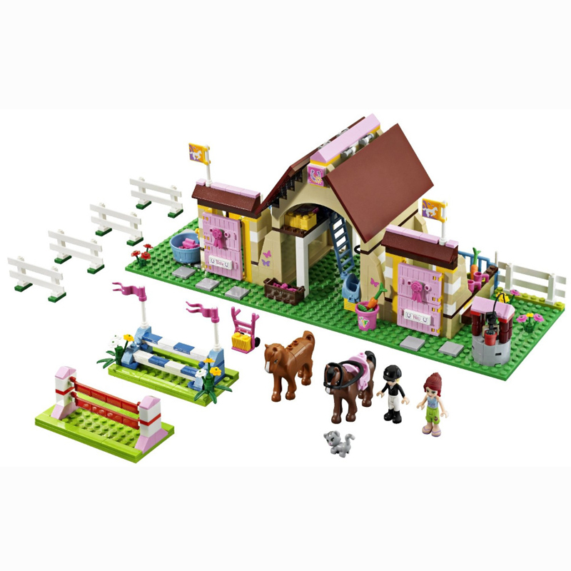 10163 BELA 400Pcs Friends Series Heartlake Stables Model Building Blocks Enlighten DIY Figure Toys For Children Compatible Legoe decool 3117 city creator 3 in 1 vacation getaways model building blocks enlighten diy figure toys for children compatible legoe