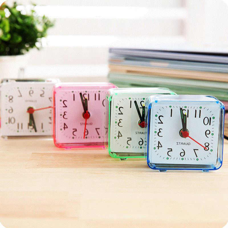 1 pc quadrado pequeno quarto despertador transparente caso compacto digital despertador mini crianças estudante mesa relógio