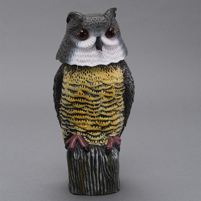 ZILIN Rotating Head Owl Decoy Scarecrow Garden Defence Plastic Owl Decoy  17*17*38cm