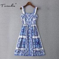Truevoker Designer Kleid frauen Hohe Qualität Retro Blau Weiß Porzellan Gedruckt Taste Spaghetti Strap Knielangen Kleid