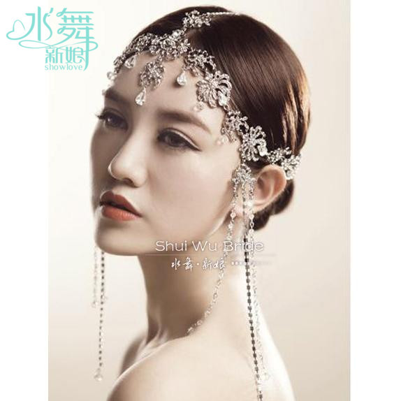 Korean crystal head chain tassel frontlet bridal hair accessories wedding hair jewelry soft chain wholesale