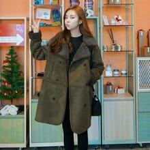 2018 Winter Lambswool Suede Jacket Thicken Coat Warm Long Sleeve Jacket Women Autumn Female Long Overcoat Plus Size M-5XL EY11