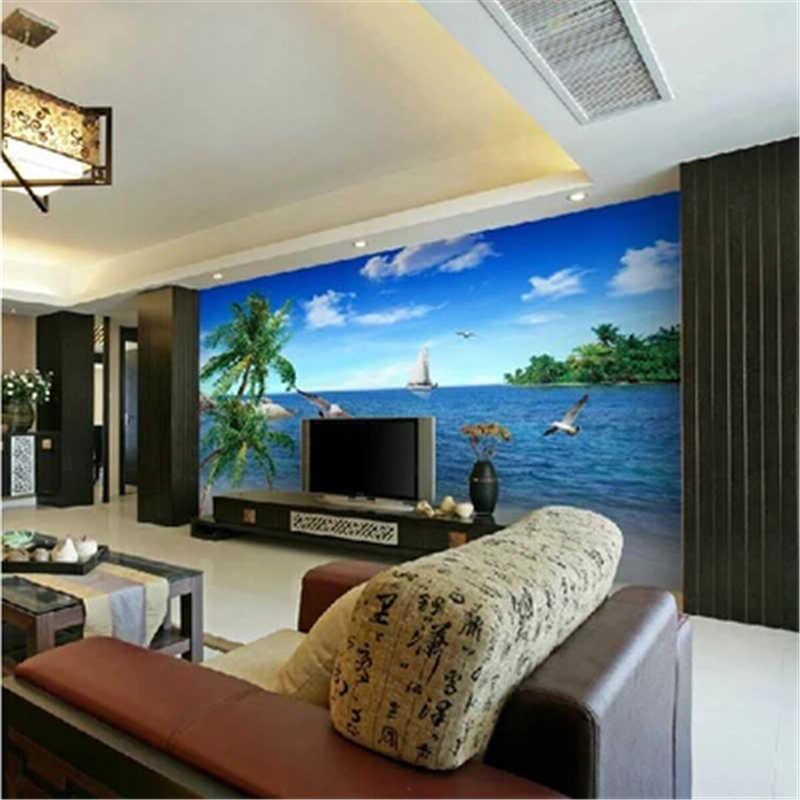 Beibehang Personalizado 3d foto papel de parede Palm beach paisagem mar praia de humor para desfrutar da natureza papel de parede mural sofá TV fundo