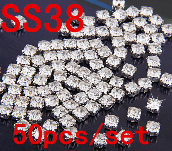 SS38 8mm 50pcslot Silver Base Flatback Crystal Sew On Rhinestones, Claw Rhinestones For Garment,DIY,Wedding Dresses