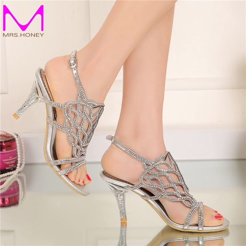 2016 Fashion Summer Sandals with Rhinestone Gorgeous Wedding Party High Heels Plus Size 34 44 Black