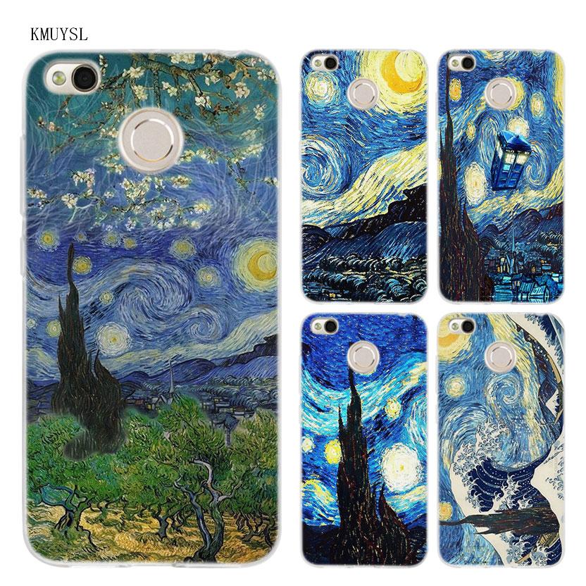 KMUYSL Vincent Van Gogh Starry Sky Oil TPU Transparent Soft Case Cover for Xiaomi Redmi Note 4X 4 4A 5 Mi A1 Plus