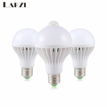 LARZI LED PIR Motion Sensor Lamp 3W 5W 220W Led Bulb 7W 9W 12W Sound+Light Automatic Smart Control Light