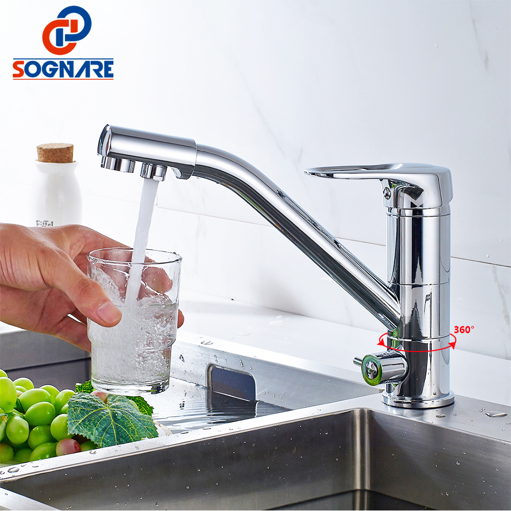 SOGNARE 100% Brass Kitchen Faucet Swivel Drinking Water Faucet 3 Way Water Filter Tap Hot Cold Swivel Style Sink Mixer Tap D2102 100% brass chrome polished hot and cold water purifier tap 3 way kitchen sink mixer faucet 2 holes drinking water tap kf042