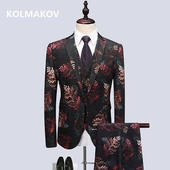 (Jacket+Vest+Pants) 2019 Men's Suits Business Slim Fit Casual Men Suit Casual Man Flower Color Wedding Suits Dress Men XF056
