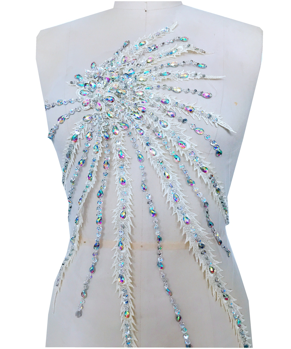 Handmade crysta ltrim patches sew on multicolored Rhinestones cream color lace applique with 55*30cm for dress