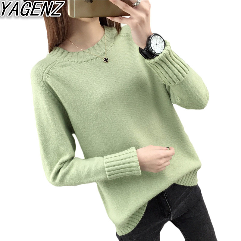 Knitted Sweater Women Clothing O-Neck Long-Sleeves Loose Korean Autumn Winter New Wild-Tops