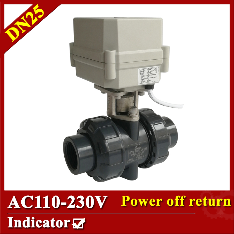 Tsai Fan electric automatic valve 2/5 wires AC110V-230V BSP/NPT electric ball valve DN25 PVC power off return for water heater 2 way pvc dn25 motorized ball valve bsp npt 1 ac110 230v 4 7wires 10nm electric ball valve on off 15 sec metal gear ce