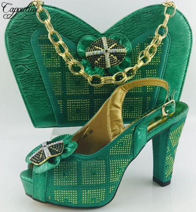 Capputine Fashionable Italy Designer font b Shoes b font And Bag Sets New Arrival African font