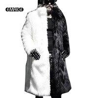 Men Fur Coat Winter 2016 Plus Size Faux Fur Coat Men Punk Parka Jackets Full Length