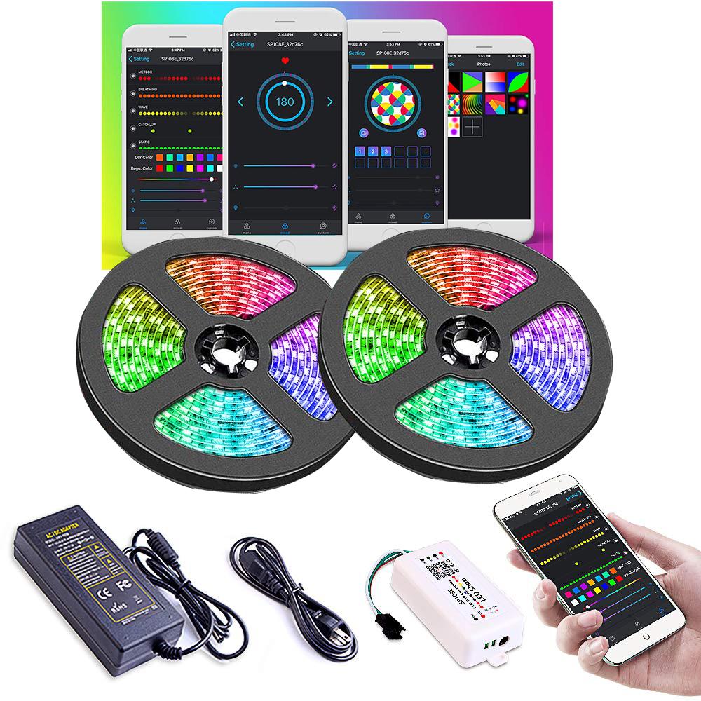 Dream Color 2811 Led Strip Light with Chasing Effect, APP Controlled Rope Light Kit with Power Supply and SP108E WiFi Controller