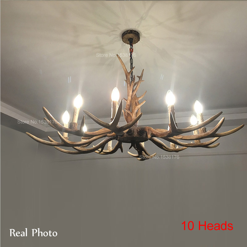 Europe Country 4/6/8/10 Head Candle Antler Chandelier American Retro Resin Deer Horn Lamps Home Decoration Lighting E14 110-240V europe country 5 heads french retro pendant light resin deer horn antler glass lampshade home decoration lighting e27 110 220v