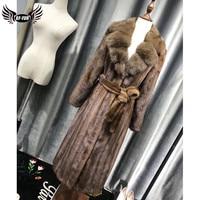 BFFUR 2018 New Arrival Real Mink Fur Coat Women Winter Jacket Long V Neck Tops Outerwear Lady Slim Leather Dress Waist Punk Coat