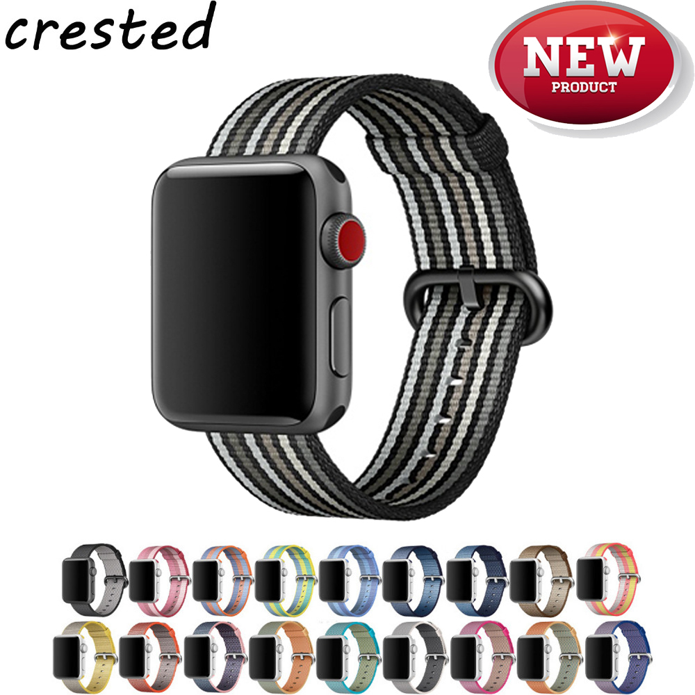 CRESTED Woven nylonband Für apple uhrenarmband 42mm 38mm sport handgelenk armband armband band für iwatch Serie 3 2 1 Ausgabe