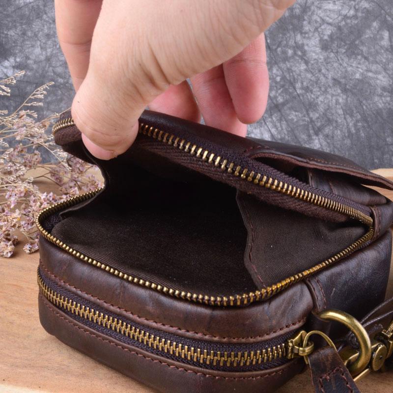 Schulter Brown Casual Mini Aetoo Leder Tasche Geldbörse Dark Kleine Männer wBxPFZqx