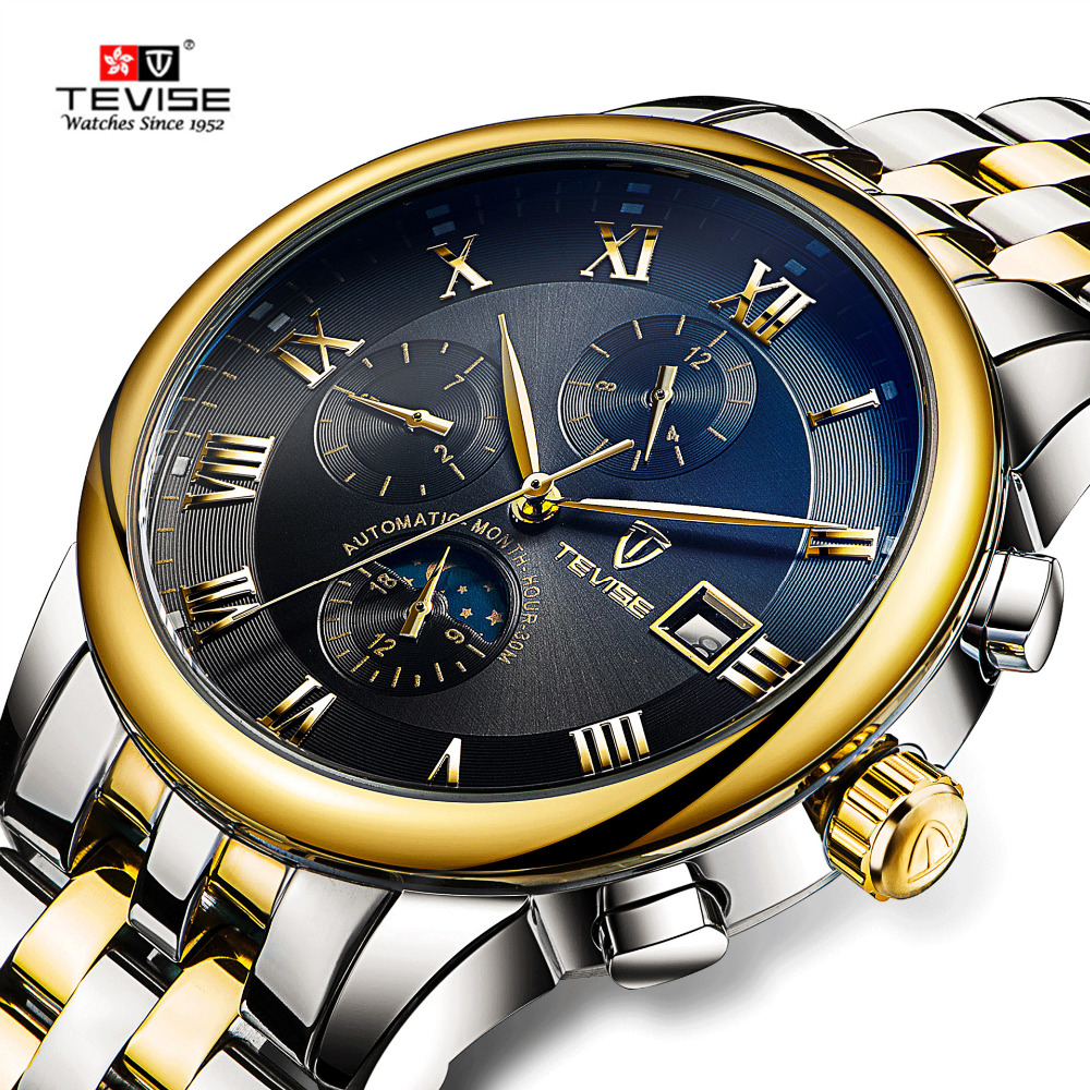 TEVISE Mens Watches Automatic Mechanical Watch Moon Phase Waterproof Luminous Date Automatic Watch Men Boy Wristwatches 2017 New tevise men watch black stainless steel automatic mechanical men s watch luminous waterproof watch rotate dial mens wristwatches