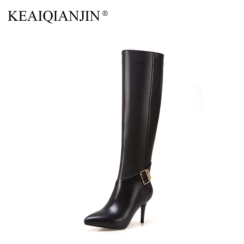 KEAIQIANJIN Woman Knee High Botas Winter Metal Decoration Genuine Leather Pointed Toe Shoes Plus Size 33 - 43 High Heel Boots keaiqianjin woman patent leather pumps plus size 33 43 high shoes spring autumn metal decoration black genuine leather pumps