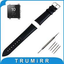 24mm correa de piel genuina para el sony smartwatch 2 sw2 inteligente Venda de reloj de Pulsera Correa de Grano Pulsera de La Correa + Herramienta negro