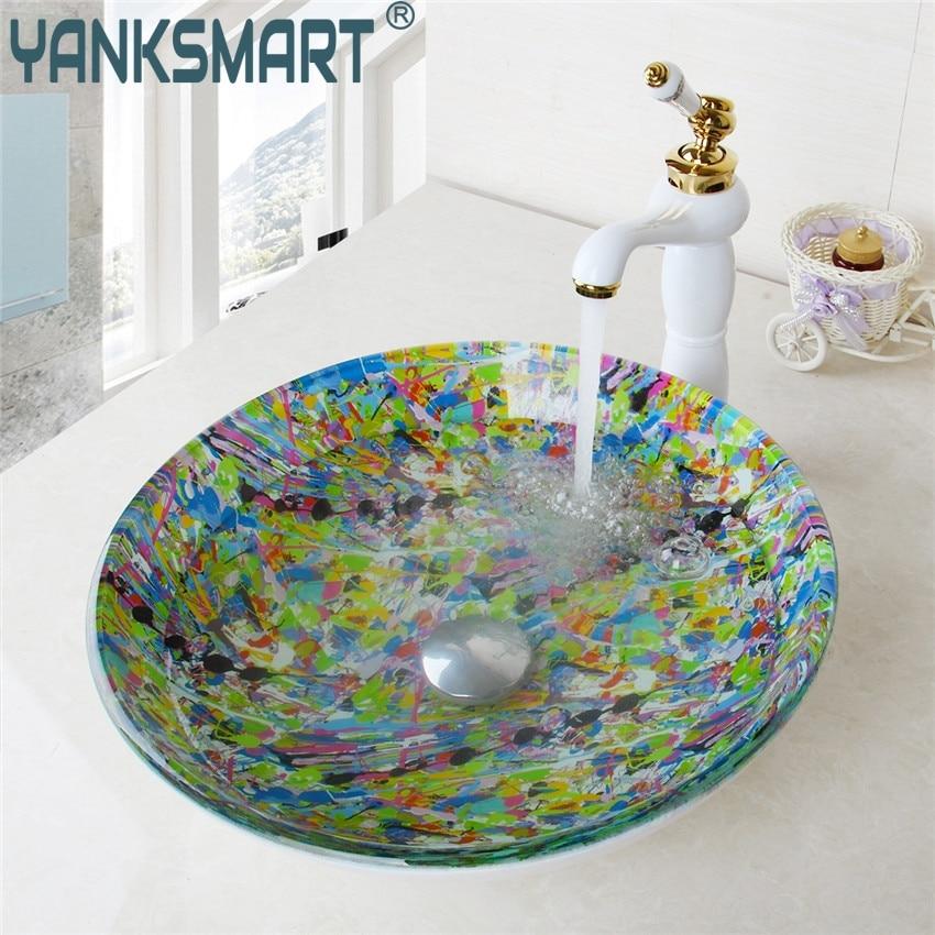 YANKSMART Round Glass Artist Washroom Basin Vessel Vanity Sink Bathroom Washbasin Ceramic Golden Brass mixer Faucet Set