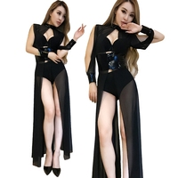 Ds costumes new night bar sexy nightclub female singer dj stage clothing perspective mesh mosaic dress