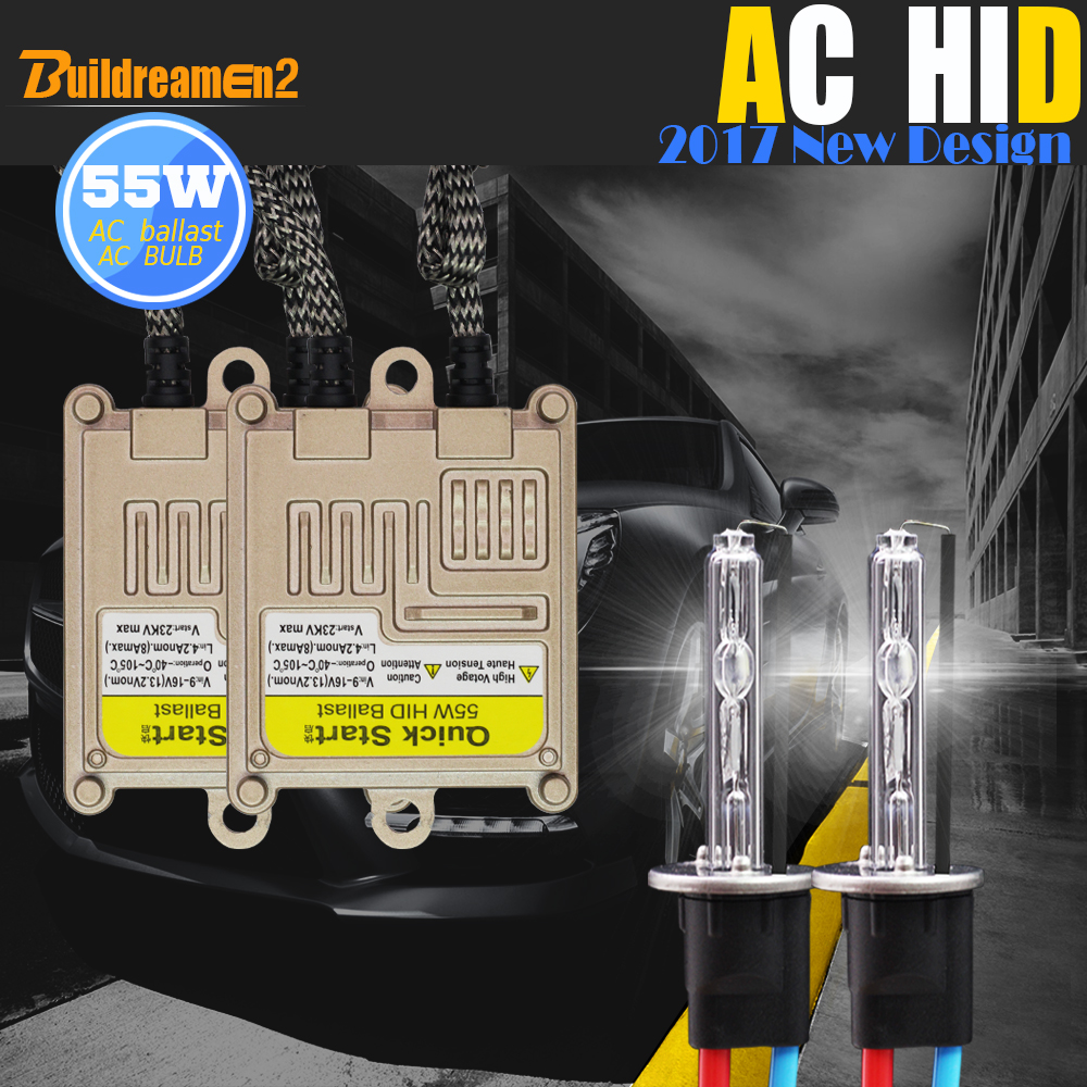Buildreamen2 55 W 9006 HB4 véhicule HID Xenon Kit 3000 K 4300 K 6000 K 8000 K AC Ballast lampe remplacement voiture lumière phare antibrouillard