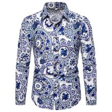 Mens dress Shirts Dress Flower Casual Blouse Men Linen Long sleeve Shirt National style Blue New