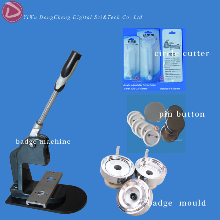 37mm 1.1/2 Badge Making Machine + Adjust Badge Paper Circle Cutter+500 Plastic Blank Badge Buttons 2016 new 37mm badge circle cutter cutting size 49mm for making 37mm pin buttons