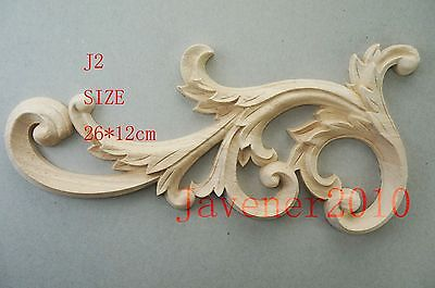 J2 -25x12.5cm Wood Carved Corner Onlay Applique Unpainted Frame Door Decal Working Carpenter Decoration