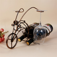 Handmade Motorcycle Model Wine Rack Hang Wine Glass Cup Holder Metal Wine Shelf Free Stand Kitchen Bar Display