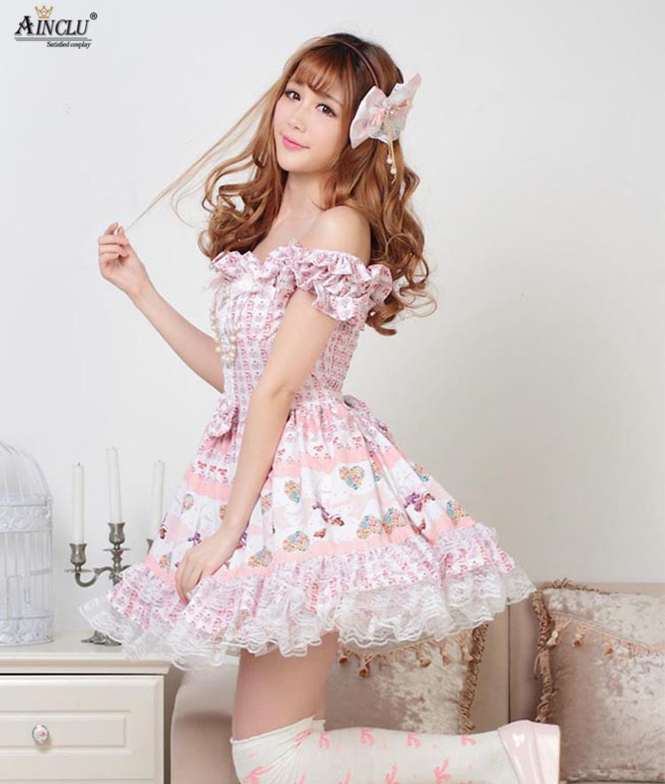 Ainclu Sweet Style Lace Skirts Women's Pink Polyester Soft Adorable Sweet Cute Princess Lolita Dress